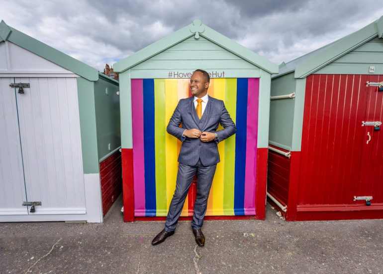 Louis-Stedman-Bryce-corporate headshot photography by brighton photographer emma bailey at hove beach huts